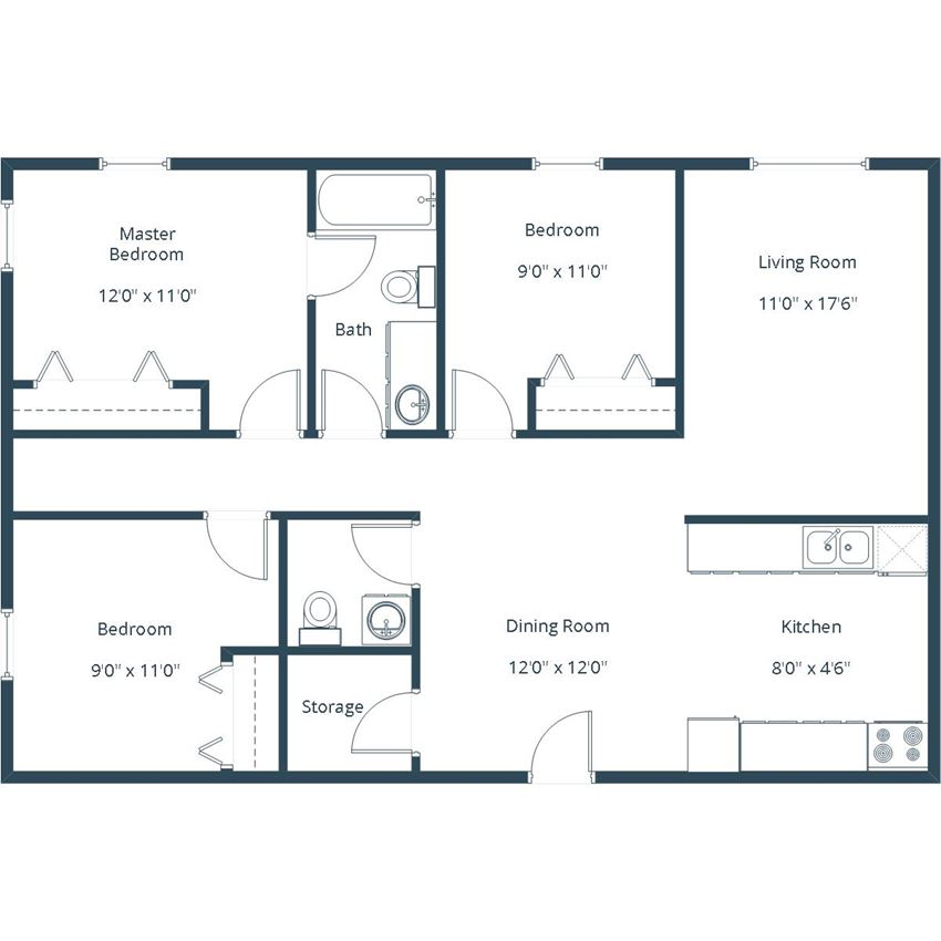 Grandview I Apartments | Three Bedroom Floor Plan