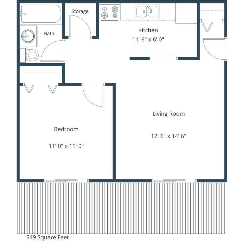 Courtyard Apartments | One Bedroom Floor Plan