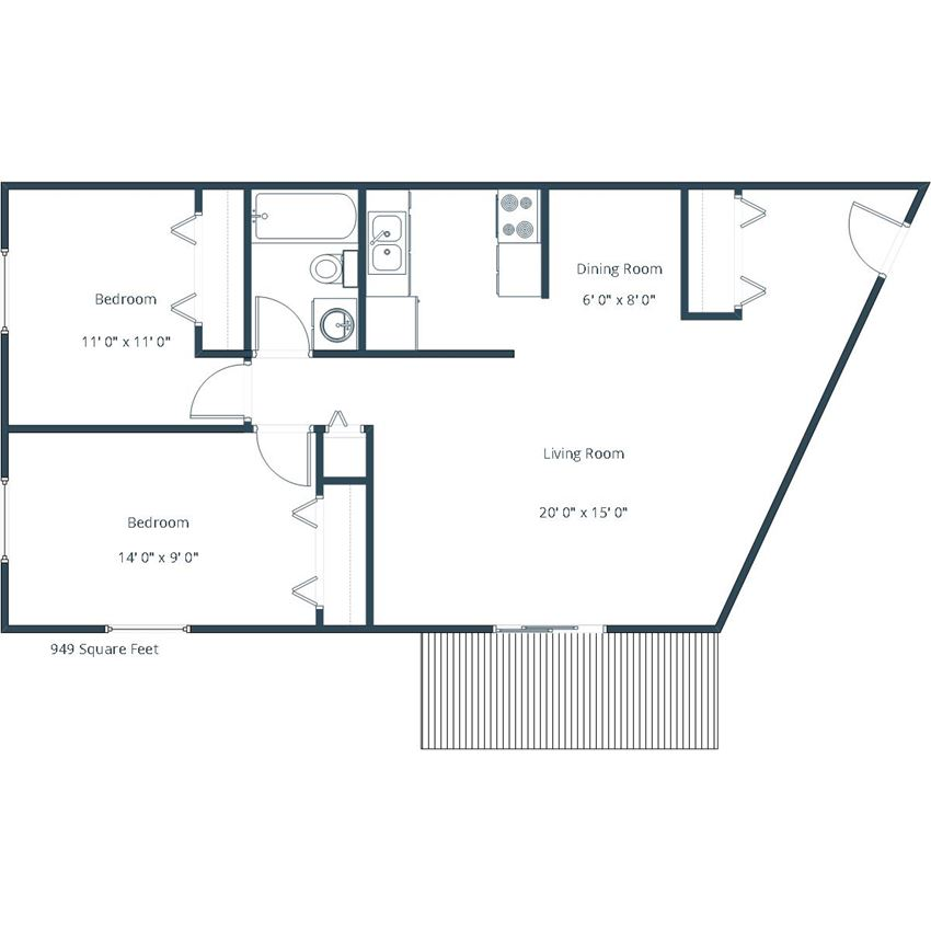 Courtyard Apartments | Two Bedroom Floor Plan A