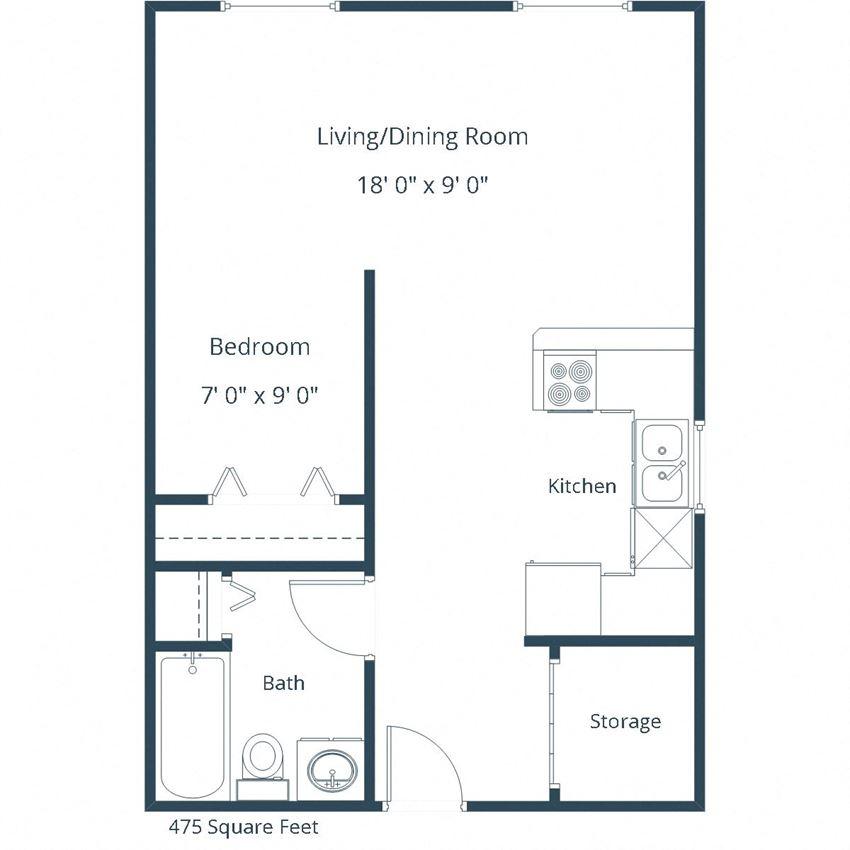 Pebble Creek Apartments | Efficiency Floor Plan