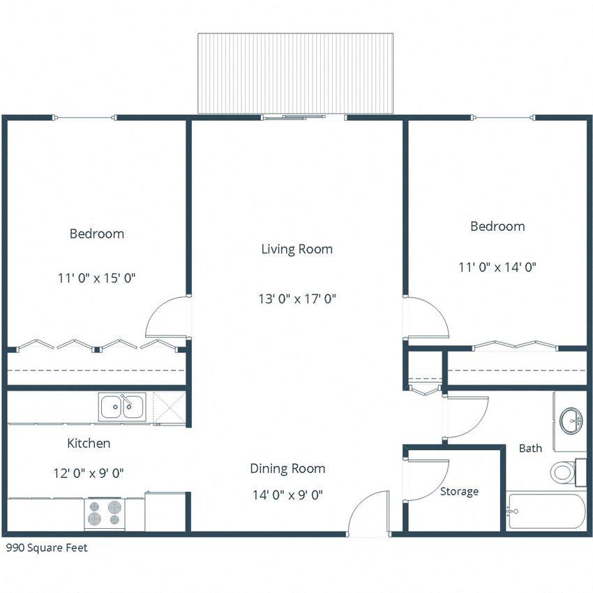 Pebble Creek Apartments | Two Bedroom Floor Plan