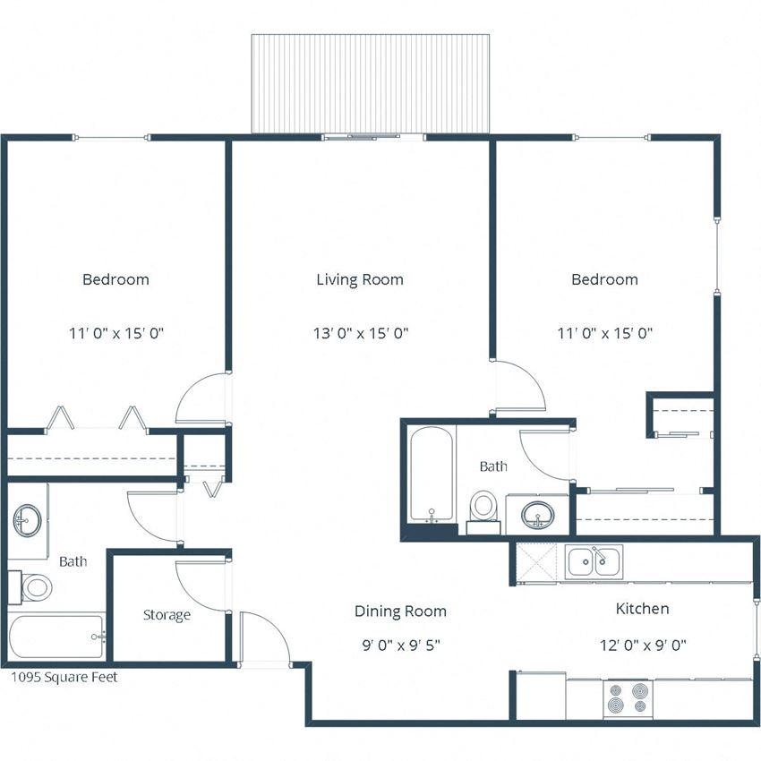 Pebble Creek Apartments | Two Bedroom Two Bath Floor Plan