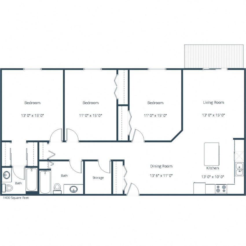 Pebble Creek Apartments | Three Bedroom Floor Plan