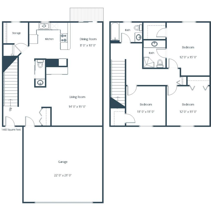 Pebble Creek Townhomes | Three Bedroom Floor Plan