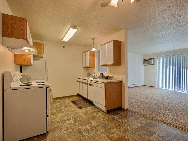 Eagle Run Apartments | 2 Bedroom Plan A | Kitchen | Living Room