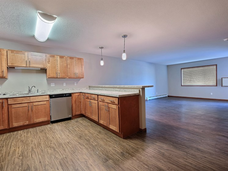 Urban Plains Apartments   1 Bdrm - Kitchen-Lvng Rm-Plan B