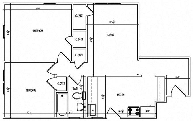 Heights Two Bedroom Floor Plan 2