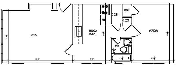 Mapleview One Bedroom Floor Plan 6