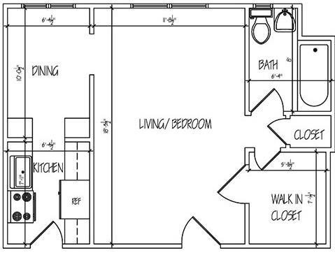Lewis Manor Efficiency Studio Floor Plan 3