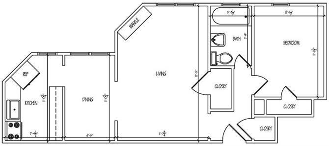Lewis Manor One Bedroom Floor Plan 4