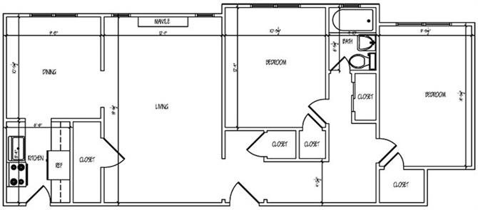 Lewis Manor Two Bedroom Floor Plan 5