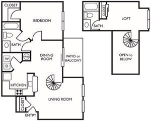 1 Bed/2 Baths with Loft (A2R) Renovated