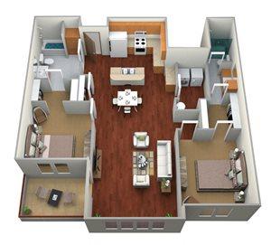 2 Bedroom, 2 Bathroom
