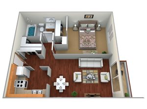 Crystal/Waldorf 1 Bed, 1 Bath