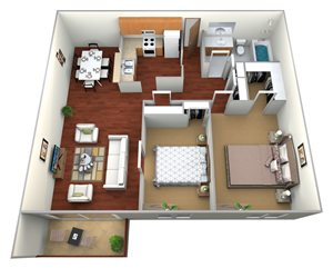 Crystal/Waldorf 2 Bed 1 Bath Large