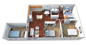 2 Bedroom, 1 Bathroom + Den