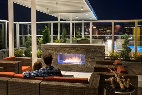 Verde Point's Rooftop Fireplace