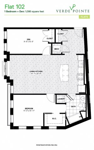 Flat 102 Floorplan at Verde Pointe