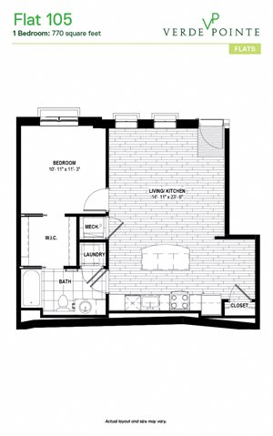 Flat 105 Floorplan at Verde Pointe