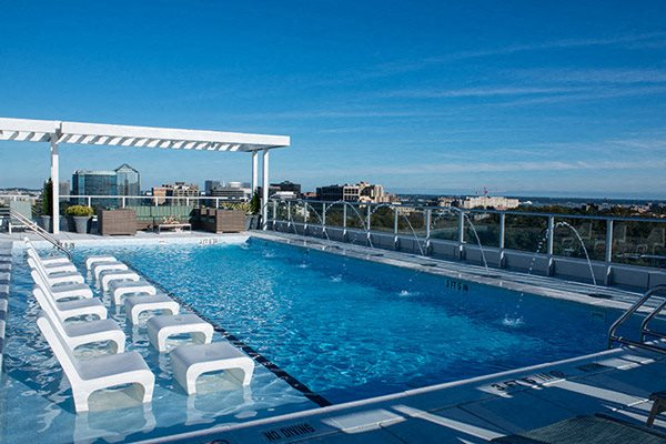 Verde Point's outfitted rooftop pool