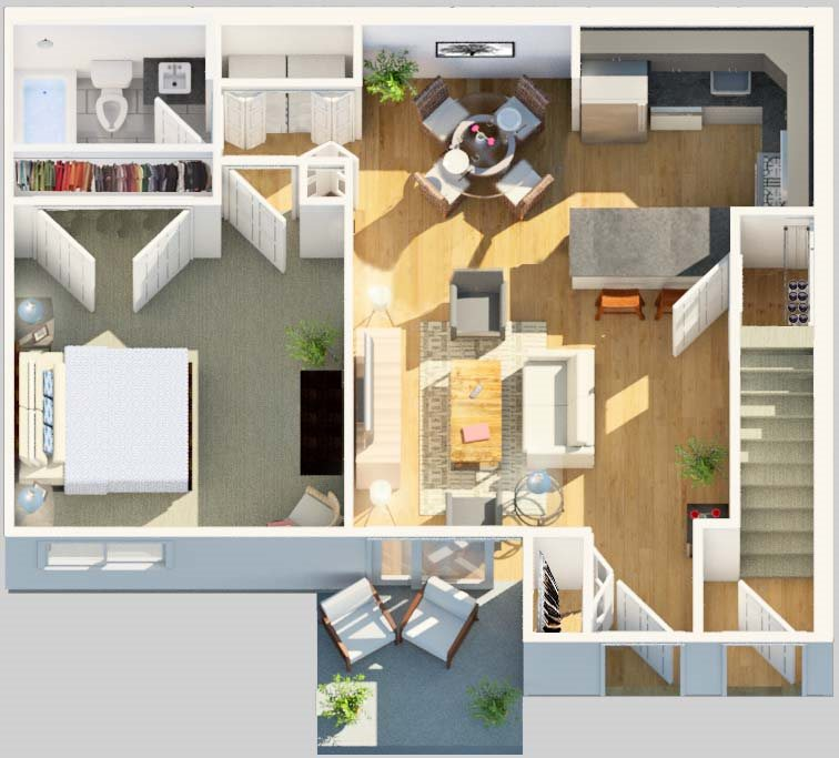 3D Floorplan of Yardley Crossing Apartments