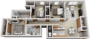 Two Bedroom Two Bathroom w/ Study