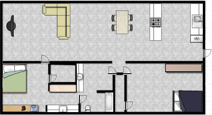 Basic two bed room Floor Plan 1