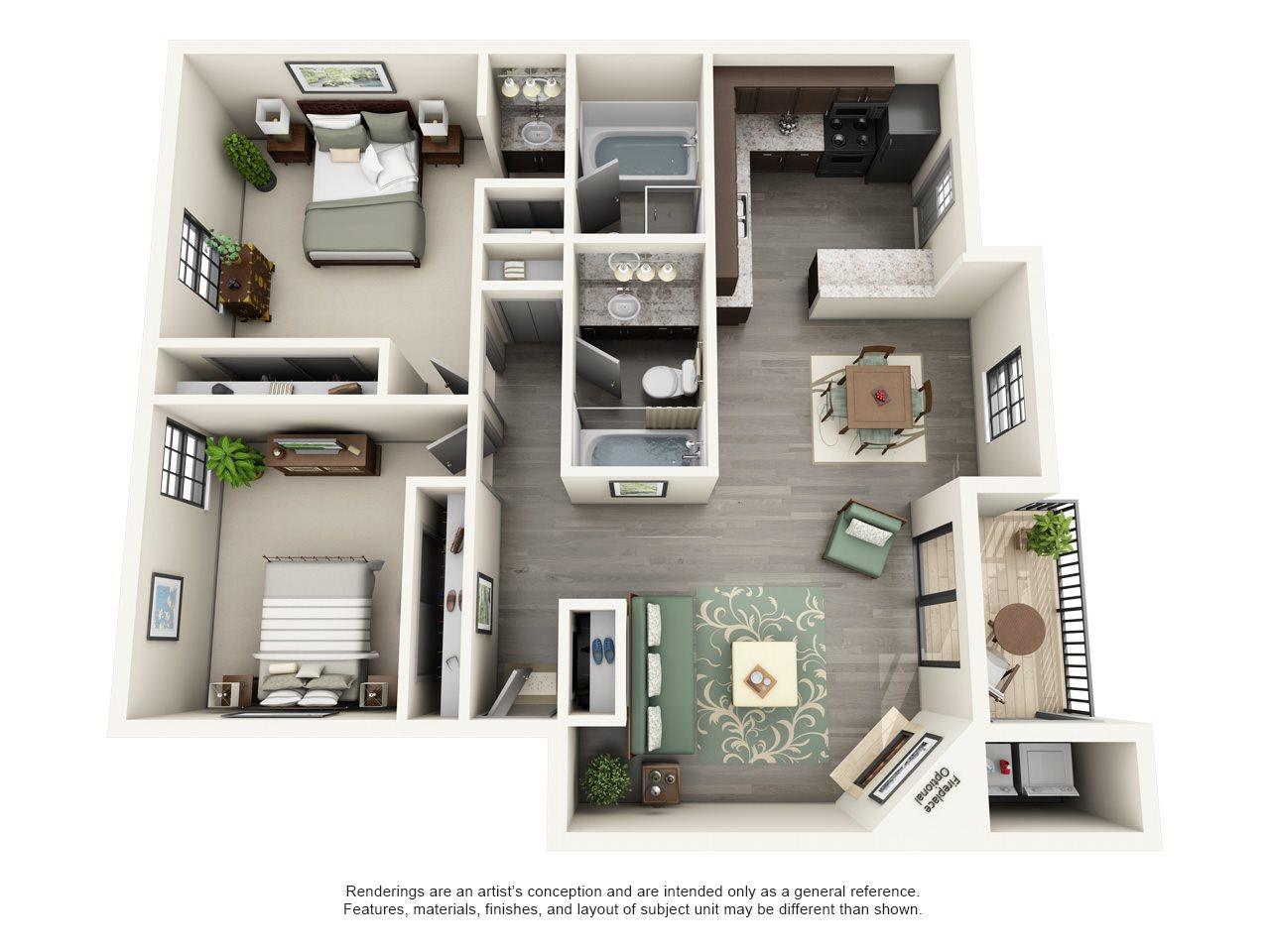 Calloway at Las Colinas Apartment Homes - 2 Bedroom 2 Bath Apartment
