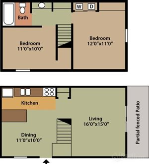 Two Bedroom One Bath Townhouse