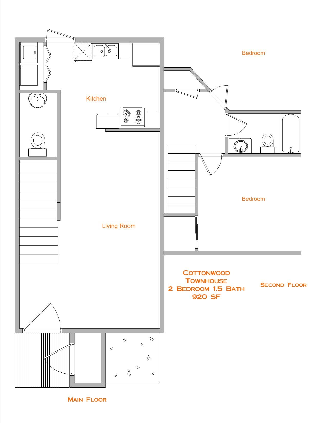 2 Bedroom, 1.5 Bath Floor Plan 2