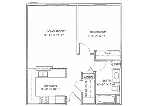 One Bedroom (Income Limits Per Household: 1 person -  $30,840/ 2 person $35,220)