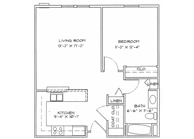 One Bedroom (Income Limits Per Household: 1 person -  $30,840/ 2 person $35,220) Floor Plan 1