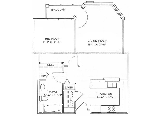 One Bedroom w/Patio (Income Limits Per Household: 1 person -  $30,840/ 2 person $35,220) Floor Plan 2