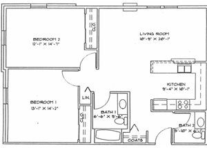 Two Bedroom (Income Limits Per Household: 1 person -  $30,840/ 2 person $35,220)