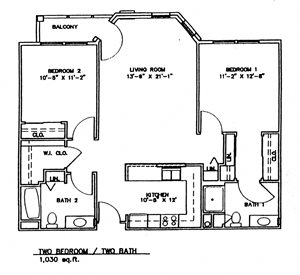 Two Bedroom w/Patio (Income Limits Per Household: 1 person -  $30,840/ 2 person $35,220)
