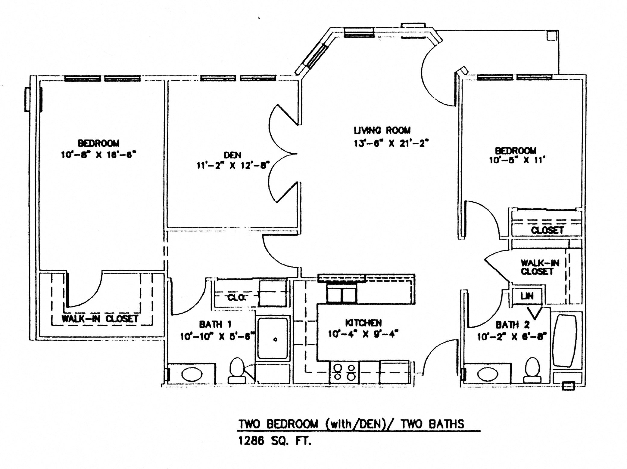 Two Bedroom w/Patio & Den Floor Plan 5