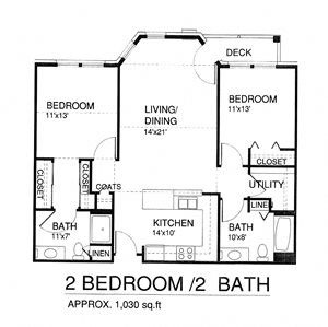 Two Bedroom Two Bath w/Patio(Income Limits Per Household: 1 person -  $30,840/ 2 person $35,220)
