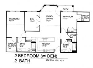 Two Bedroom Two Bath w/Patio and Den