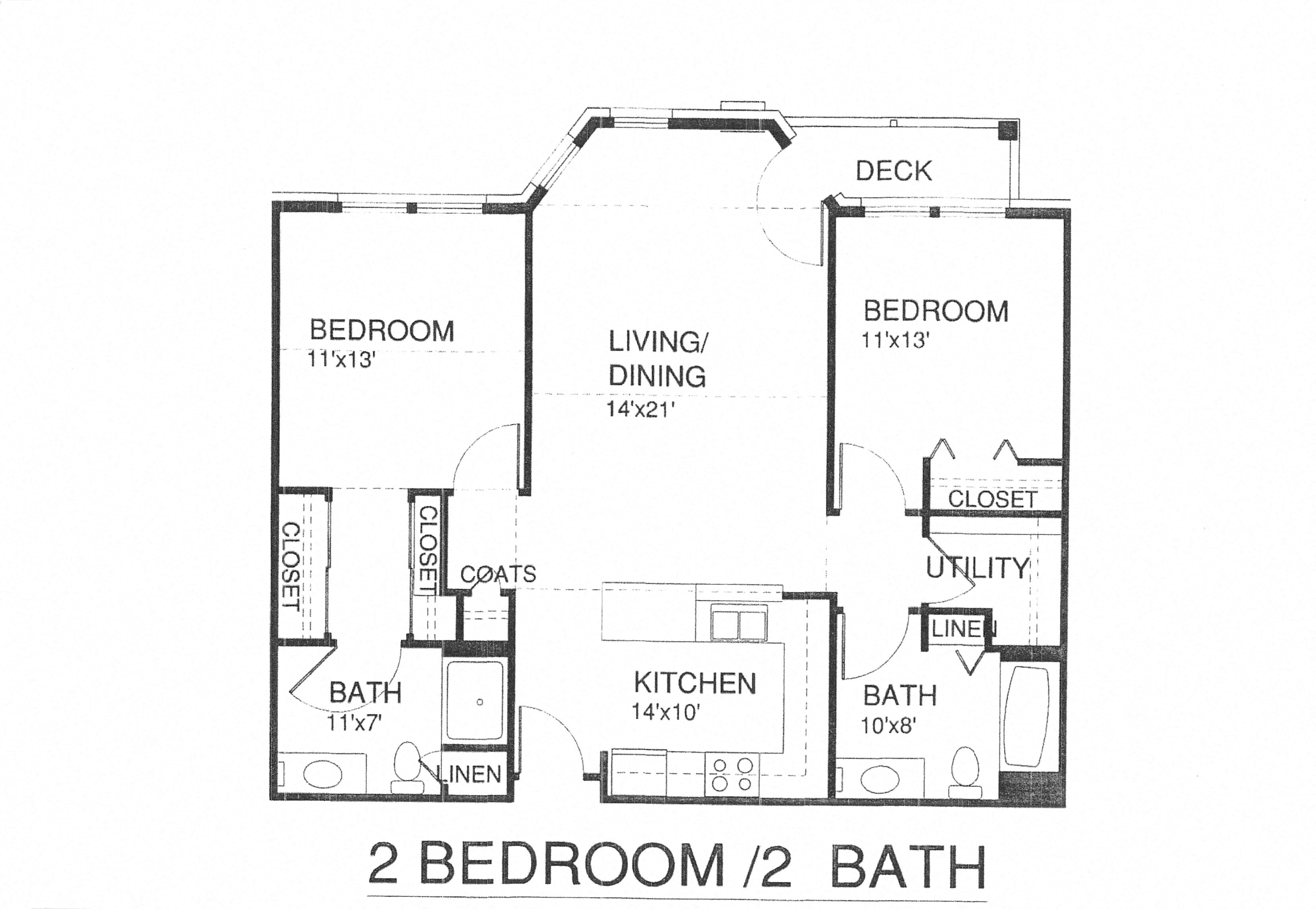 Two Bedroom Two Bath W/Patio U0026 Laundry Floor Plan 3