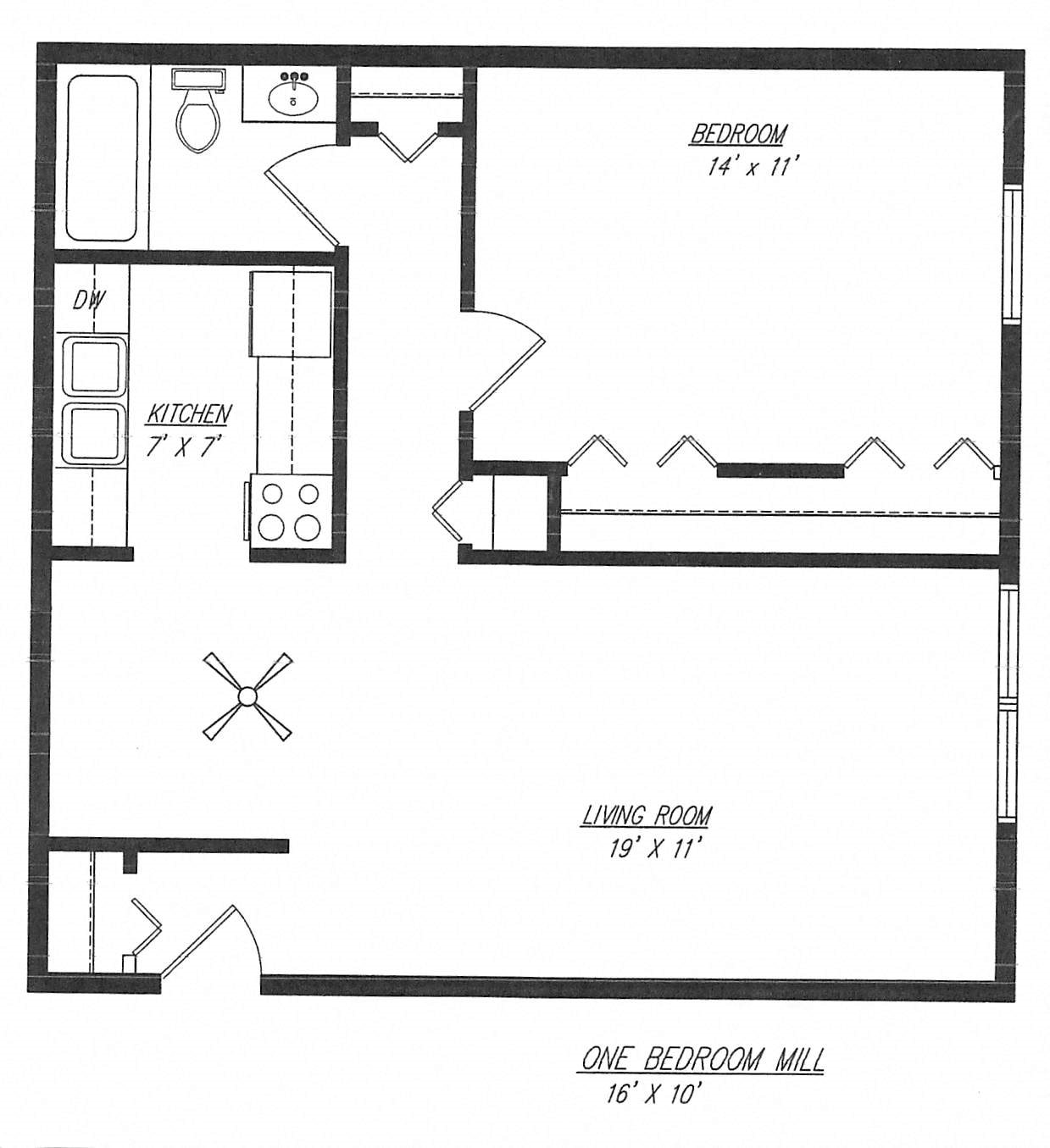 Mill - One Bedroom Floor Plan 1