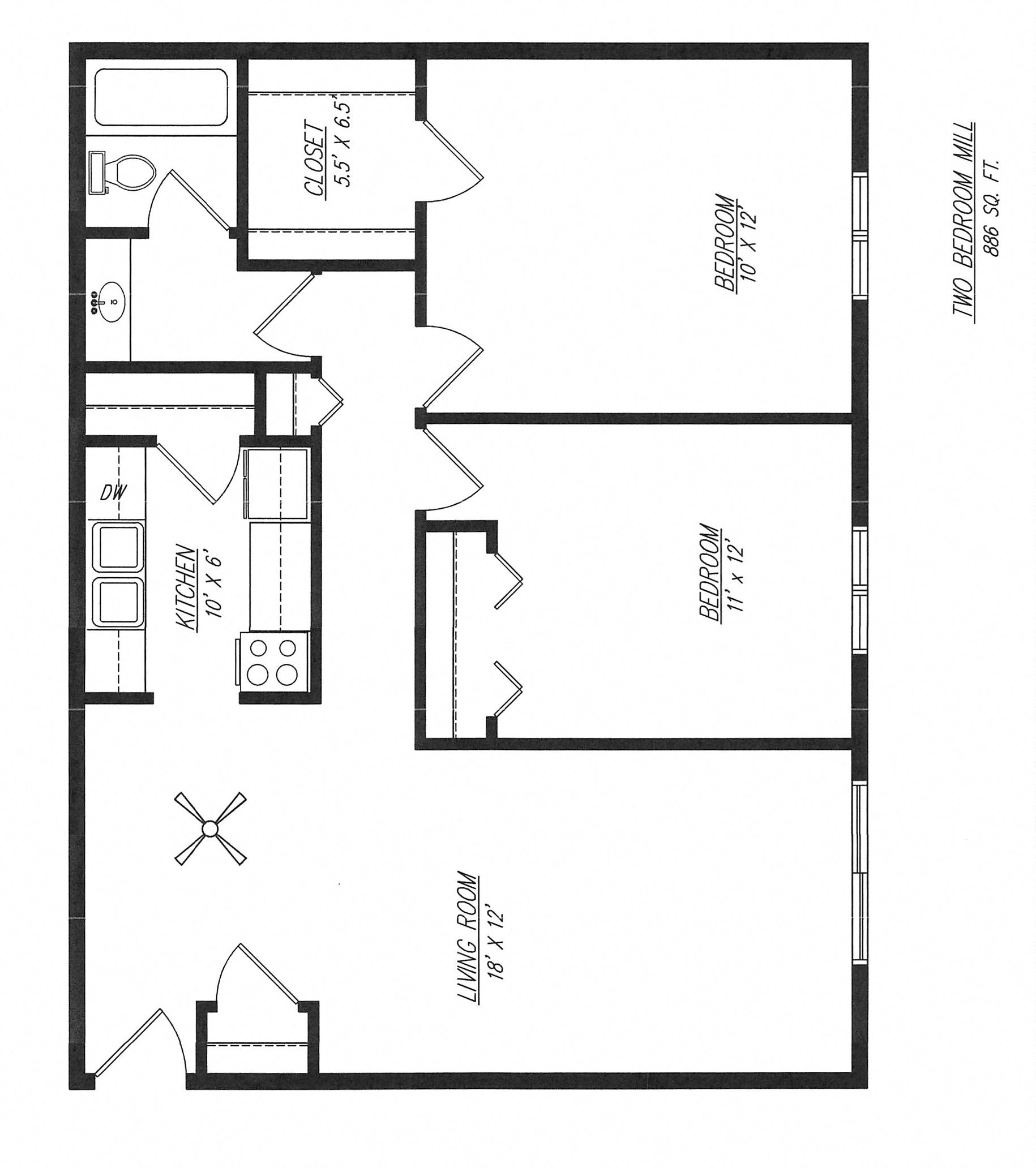 Mill - Two Bedroom Floor Plan 2