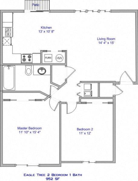 2 Bedroom, 1 Bath B Floor Plan 2