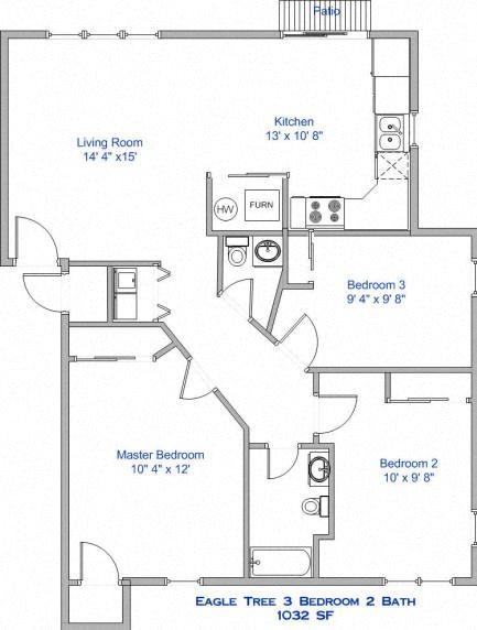 3 Bedroom, 2 Bath Floor Plan 3