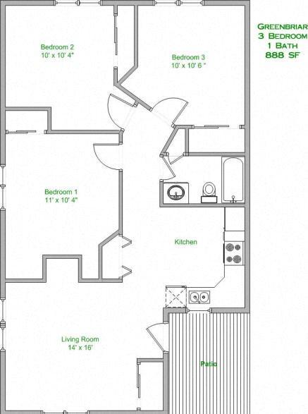3 Bedroom, 1 Bath Floor Plan 2