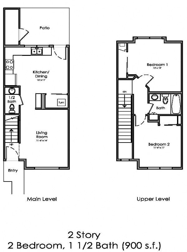 2 Story, 2 Bed, 1.5 Bath Floor Plan 2