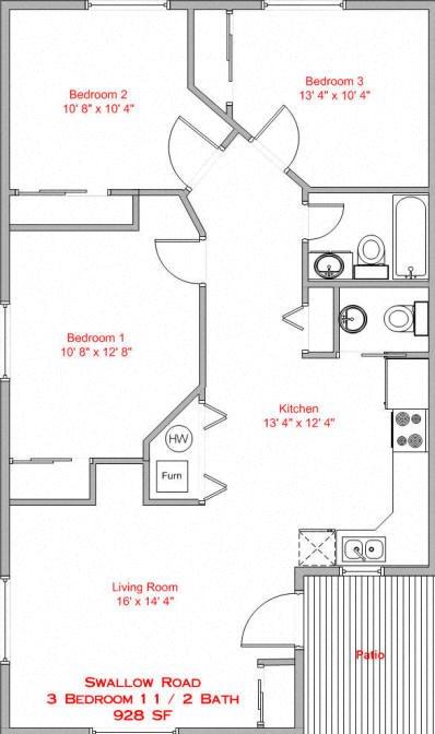 3 Bedroom, 1.5 Bath Floor Plan 2