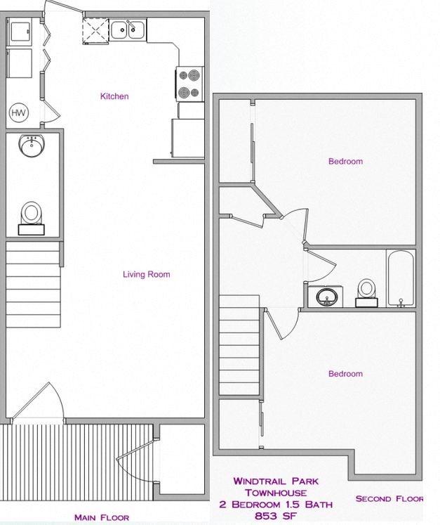 2 Bedroom, 1.5 Bath Floor Plan 1