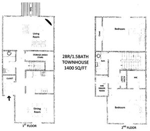 2 Bedroom 1.5 Bath Townhouse