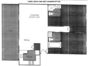 2 Bedroom 2 Bath GARDEN STYLE