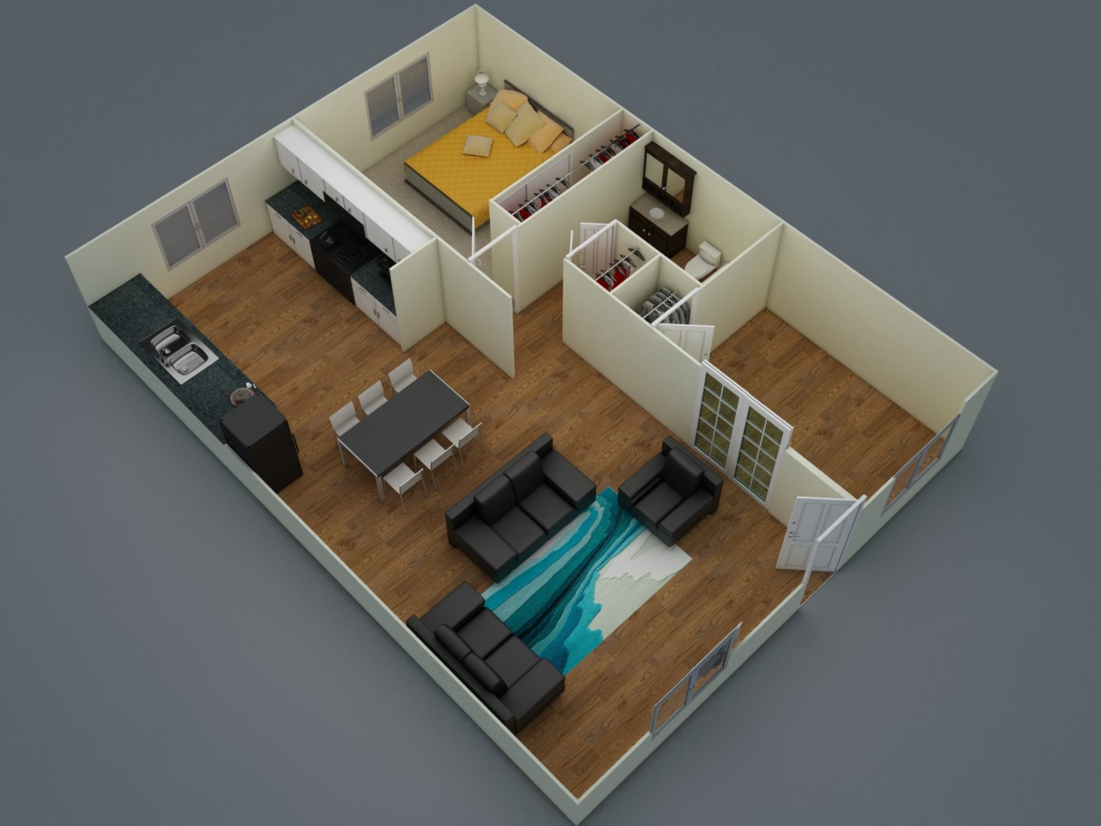 Two Bedroom - One Bath - D1 Floor Plan 2